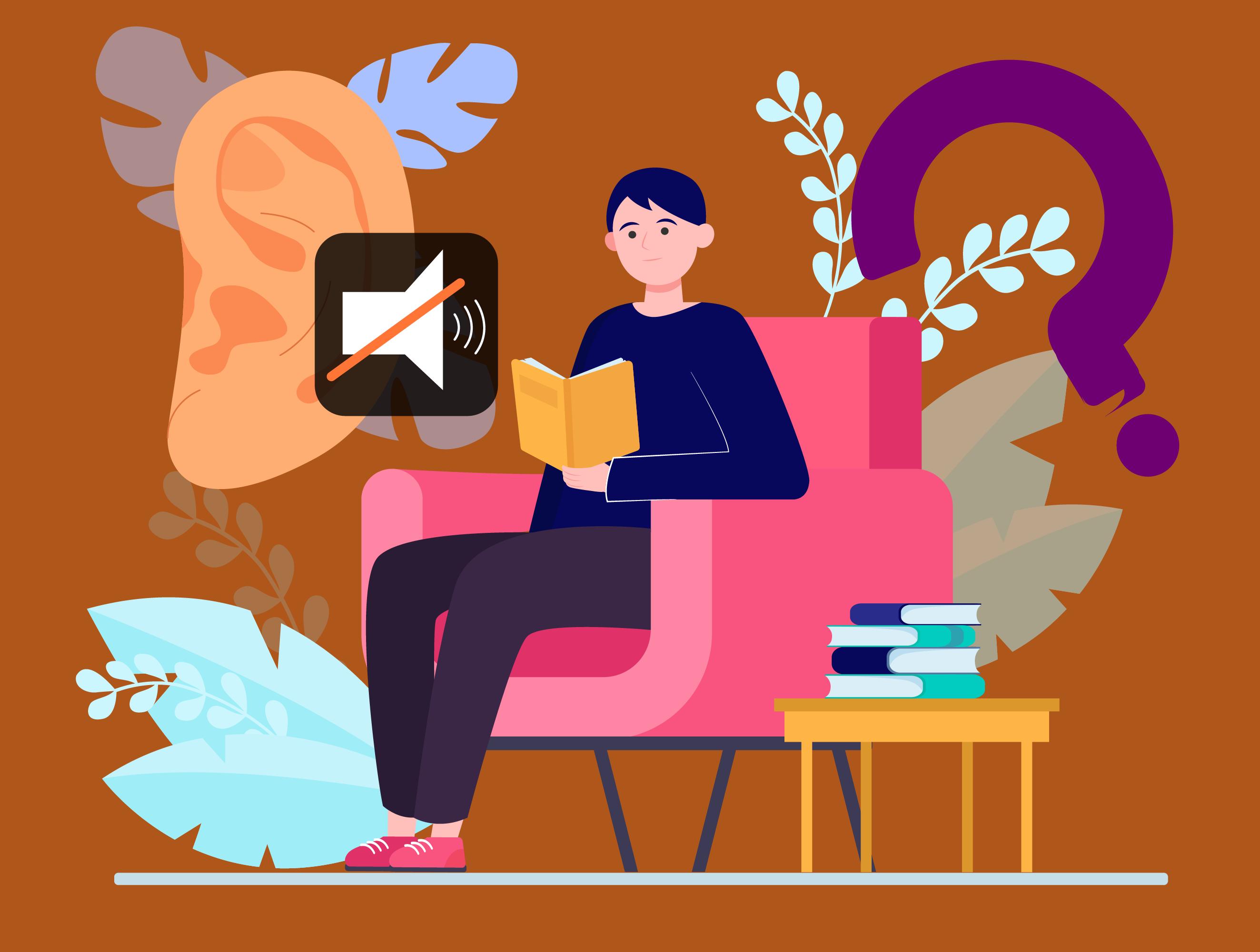 Turuncu fonda pembe bir koltukta otup kitap okuyan erkek çizimi. Solunda bir kulak çizimi. Kulağın üstünde megafon üstünde bir çarpı işareti. Sağda mor soru işareti.