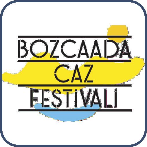 """Sarı kumsal, güneş ve mavi deniz çizimi. Üstünde siyah harflerle, """"Bozcaada Caz Festivali"""" yazıyor."""
