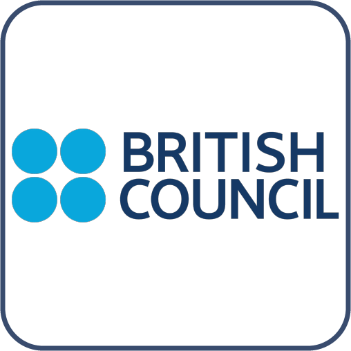 """İkişer şekilde sıralanmış üst üste dört mavi daire. Yanında Mavi harflerle, """"British Council"""" yazıyor."""