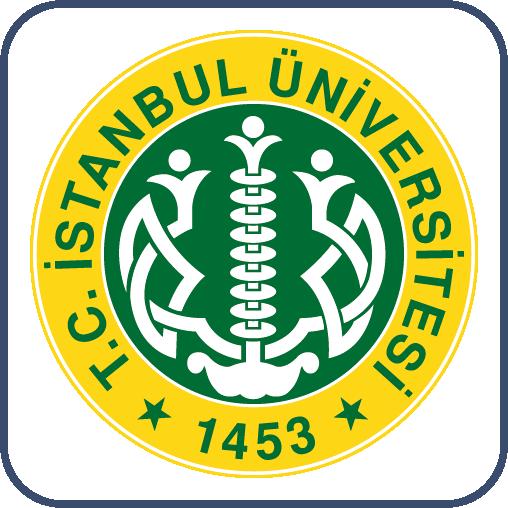"""İç içe geçmiş sarı ve yeşil çember. Dıştaki sarı çemberde yeşil harflerle, """"T.C. İstanbul Üniversitesi, 1453"""" yazıyor. İçteki yeşil çemberde kollarını açmış insanlar yükselirken resmedilmiş."""