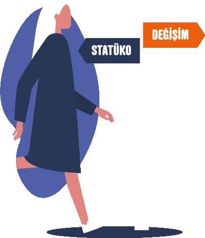 """Beyaz bir direk üstünde iki tabela. Tabelanın birinde beyaz harflerle, """"Statüko"""", diğerinde aynı harflerle, """"Değişim"""" yazıyor. Mavi bir kapıdan çıkıp değişime doğru yürüyen bir kadın çizimi."""