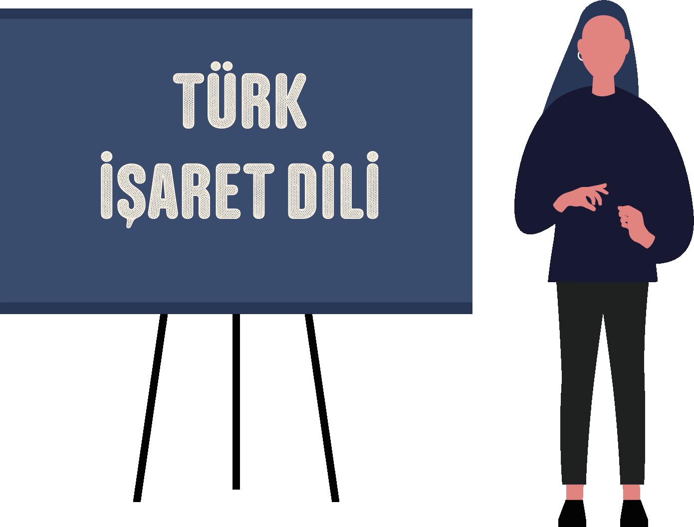 """Solda mavi bir yazı tahtası. Üstünde beyaz harflerle """"Türk İşaret Dili"""" yazıyor. Sağında Türk İşaret Dili ile konuşan bir kadın çizimi."""