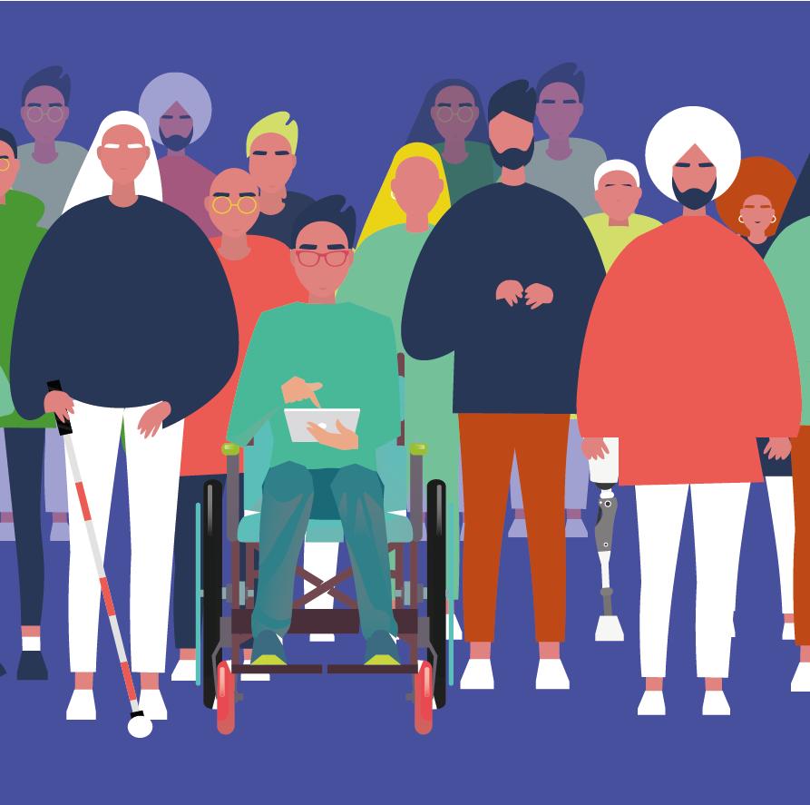 Engelli ve engelsiz bireylerden oluşan bir topluluğun önden görünümü.