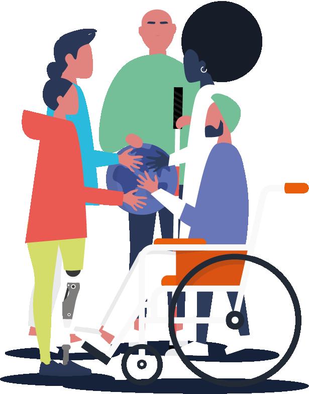 Bir dünya çizimi üzerinde ellerini birleşitirmiş engelli-engelsiz bireyler
