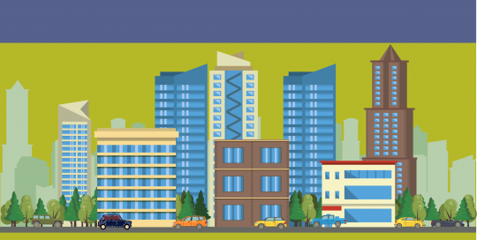 Yeşil fonda yüksek gökdelenlerden oluşan bir şehir. Binaların altında arabaların gittiği bir yol.