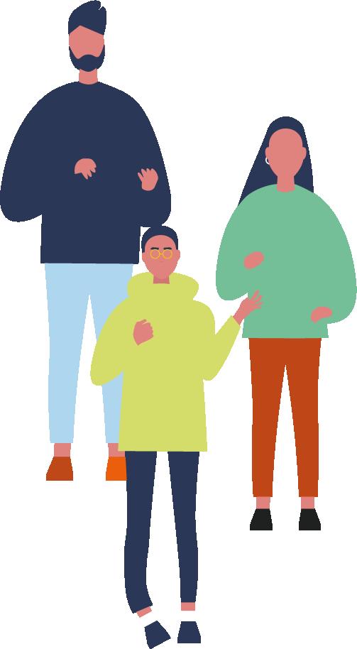 Sunum yapan birey çizimleri. Ortada gözlüklü bir kadın, sol arkasında sağı sağa doğru taranmış bir erkek, sağında saçları omuz hizasında uzun bir kadın çizimi.