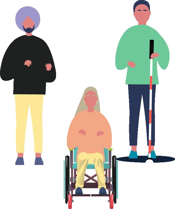 Ortada tekerlekli sandalye kullanıcısı kadın çizimi, solunda mor şapkalı bir erkek, sağında beyaz baston kullanıcısı kör bir erkek çizimi.
