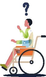 Tekerlekli sandalye kullanıcısı kadın birey çizimi. Üstünde siyah bir soru işareti.