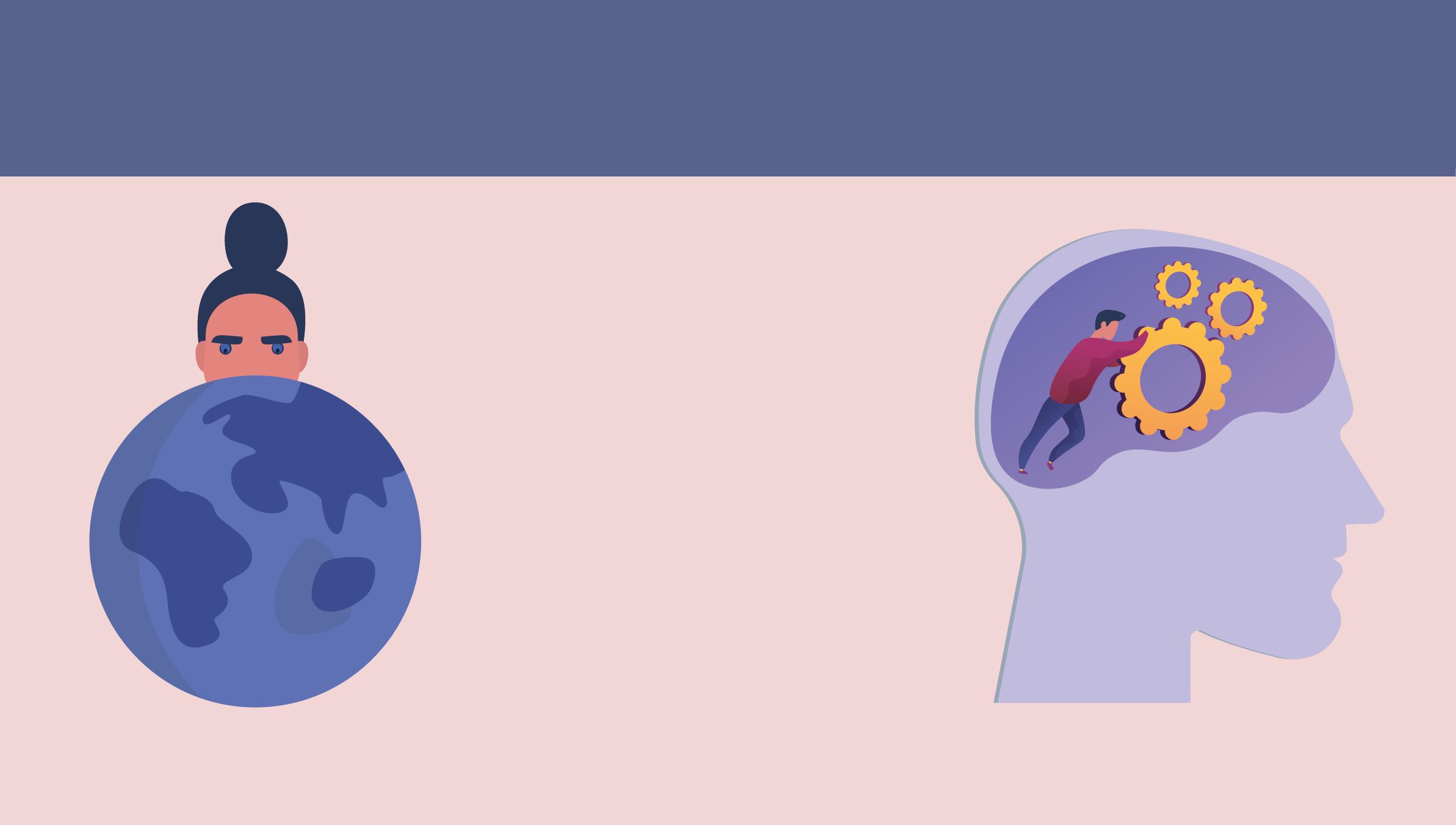 Solda dünya çizimine üstten bakan bir kadın. Sağda insan beyninin olduğu bölümde çarkları iten bir erkek çizimi.