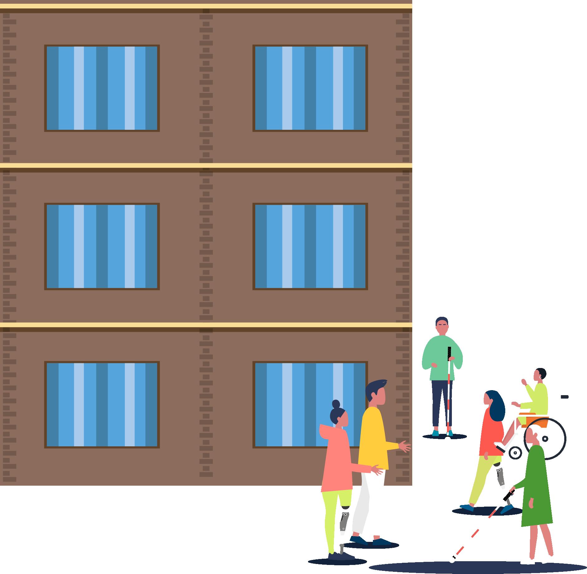 Yüksek bina yanında araştırma yapan engelli-engelsiz bireyler