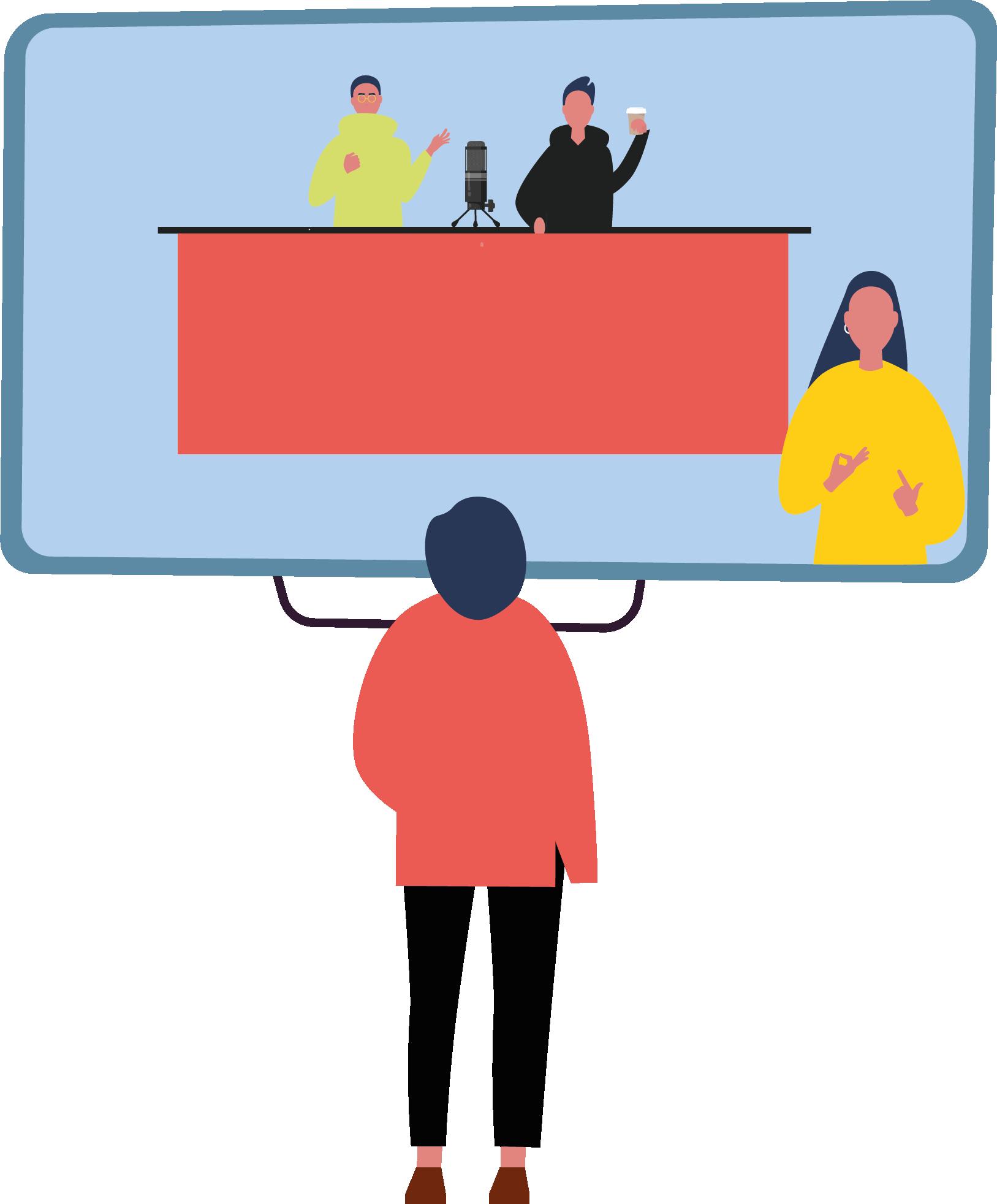 İşaret dili çevirisi ile erişilebilir hale getirilmiş bir programı televizyonda izleyen birey çizimi.