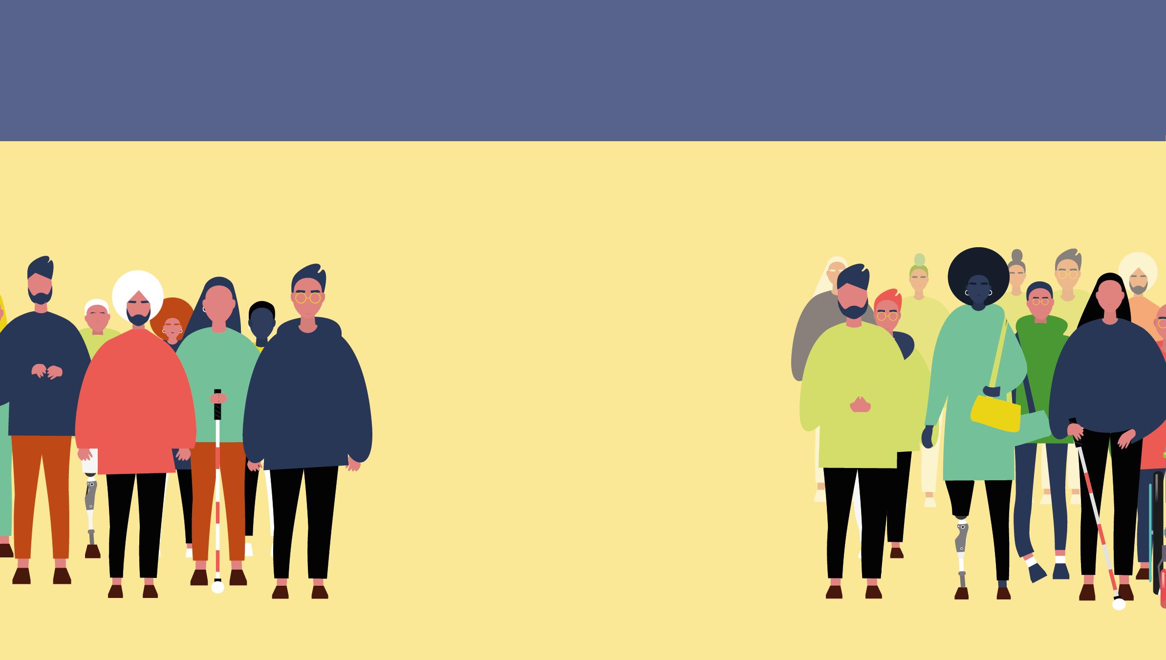 Sarı fonda sağ ve sol köşede engelli-engelsiz insan toplulukları