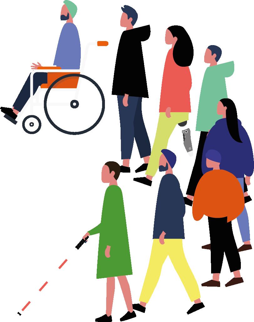 Yarım daire şeklinde yürüyen engelli ve engelsiz bireylerden oluşan topluluk