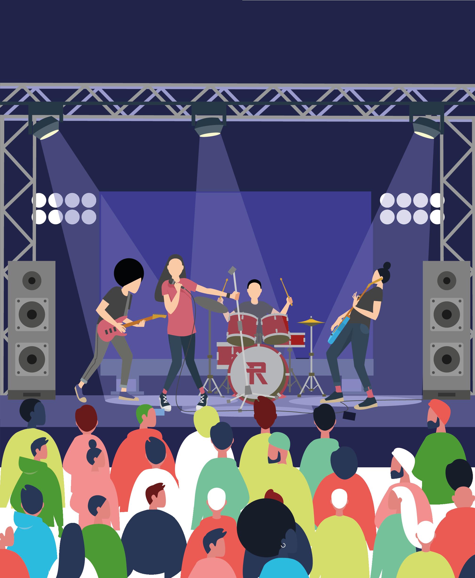 Işıklandırılmış sahnede konser veren dört kişilik rock grubu. Onları dinleyen kalabalık bir topluluk.