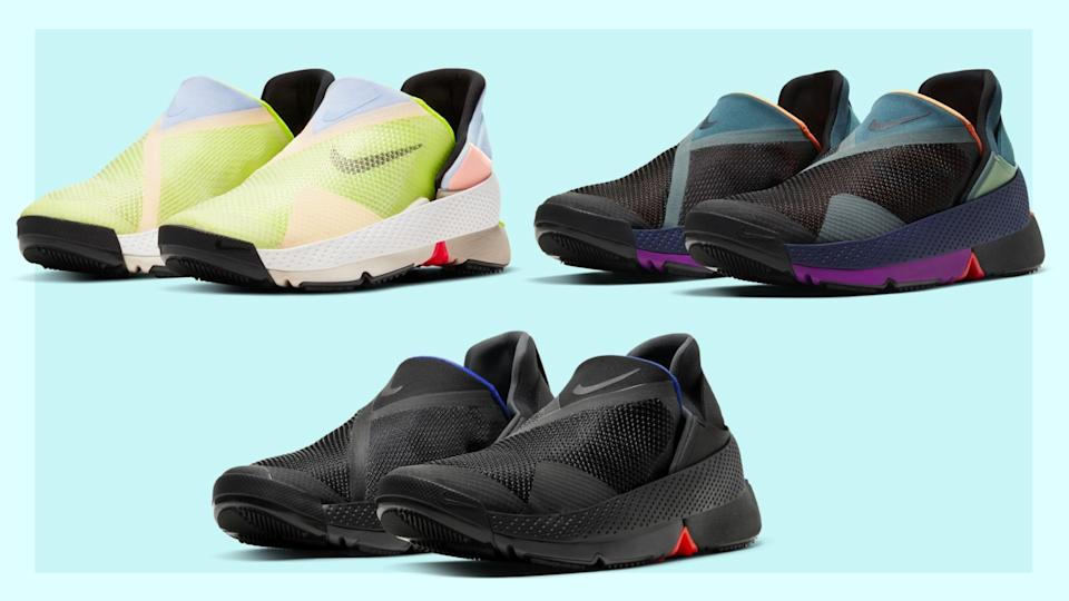 Nike markasının el kullanmadan giyilebilen bağcıksız ayakkabısı. Siyah, yeşil ve mor renkli üç ayakkabı