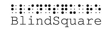 "Üstte Braille alfabesiyle ""Blind Square"" yazıyor. Altında latin harfleriyle Blind Square yazıyor."