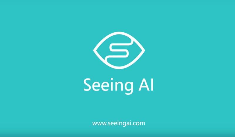 Turkuaz arkaplanda bir göz çizimi. Gözün sol altından başlayıp sağ üstüne doğru uzanan kıvrımlar S harfini oluşturuyor. Altında Seeing AI yazıyor. En altta www.seeingai.com yazıyor.