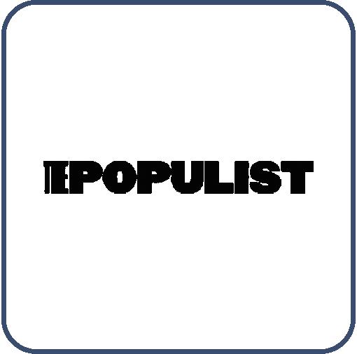 Siyah harflerle, The Populist, yazıyor. THE, sözcüğünün harfleri birbirine yakın, Populist sözcüğünün harfleri birbirinden daha uzak.