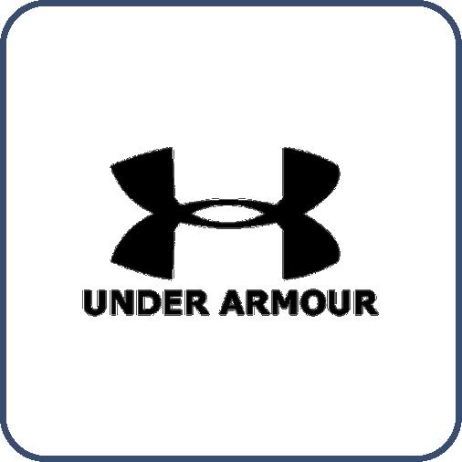 Ortası ince, kenarları kalın birbirine simetrik iki yay ortadan kesişiyor ve U harfini oluşturuyor. Altında siyah harflerle, Under Armour, yazıyor.