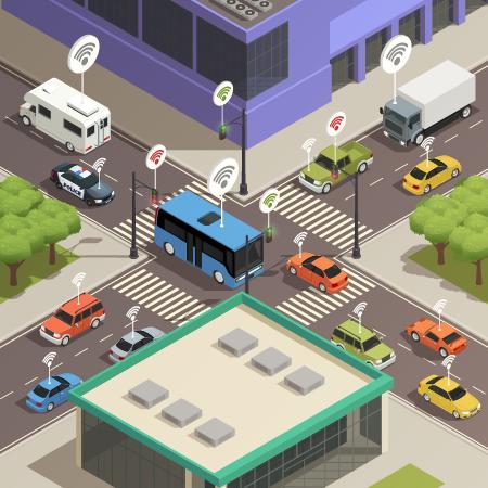 Havadan görünen bir şehir çizimi. Otobüs, araba ve kamyonetlerden oluşan dört yol. Köşelerde binalardan parçalar gözüküyor. Araçların üstünde birbiri içinde üç yaydan oluşan kablosuz internet işareti var.